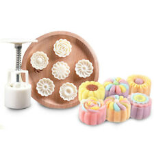 New Version 3 D Flower Pattem Moon Cake Mold 50g 1 Barrel 6 Stamps DIY TOOL