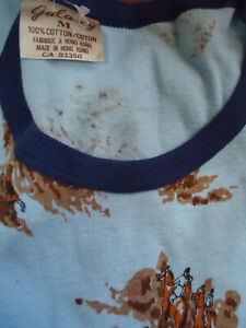 NOS VTG 70s RINGER T-SHIRT COTTON RIB KNIT  TEEN M EQUESTRIAN HUNTING