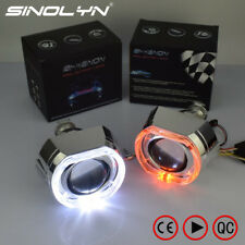 HID Bixenon Lens Projector Headlight Square LED Angel Eyes DRL Turn Signal Lamps