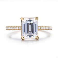 Fine Jewelry White Topaz Cushion 8x6mm Real Diamond Wedding Ring 18K Yellow Gold