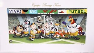 "Warner Bros Equipo Looney Tunes Futbol Soccer World Cup Litho Art 32.5"" x 18"""