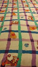 Vintage DISNEY Winnie the Pooh Tigger Ladybugs Twin Flat Sheet EUC Craft Fabric