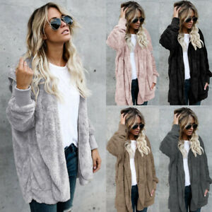 UK Womens Hooded Ladies Coat Cardigan Fleece Fur Fluffy Jacket Teddy Bear Tops