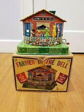 1950s MATTEL # 503 TIN-LITHO FARMER IN THE DELL WIND-UP MUSIC BOX IN THE BOX
