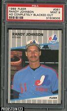 1989 Fleer Ad Completely Blacked Out #381 Randy Johnson RC HOF PSA 9