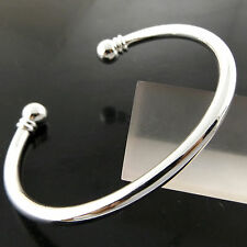 A276 GENUINE REAL 925 STERLING SILVER S/F SOLID BEAD DESIGN CUFF BANGLE BRACELET