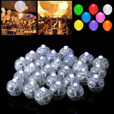 50pcs Wedding Party Decor White LED Lamp Lights Balloons Paper Lantern Balloon
