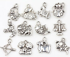 12pcs Tibet Silver Twelve Constellations Spacer Charms Pendants Jewelry Finding