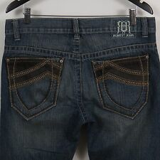 Request Leather Accent Distressed Jeans Mens Size 32 x 32 (Actual 34 x 30)