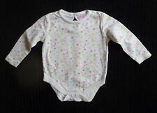 Baby clothes GIRL 6-9m cream pink,yellow,aqua floral long sleeve bodysuit/top