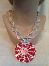 "21"" Choker Necklace, RED Etched Shell, STERLING SILVER, Titanium Mesh, 2"" Round"