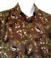 Reyn Spooner Hawaiian Aloha Shirt Hula Girls Tiki Huts Coconut Palms Large