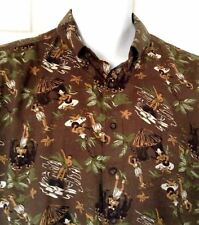 Reyn Spooner Hawaiian Aloha Shirt Hula Girls Tiki Huts Coconut Palms Large