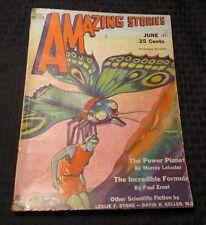1931 AMAZING STORIES Pulp Magazine v.6 #3 VG Leinster Ernst Keller