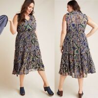 Sweet Pea Mesh Ruffled Azul Dress Size S L Blue Motif NW ANTHROPOLOGIE Tag M