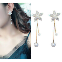 Brief Women Crystal Flower Pearl Earrings Ear Stud Dangle Earring Jewelry