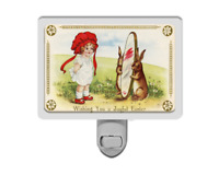 Joyful Easter Cute Vintage Style Girl with Bunny Rabbits Spring Night Light