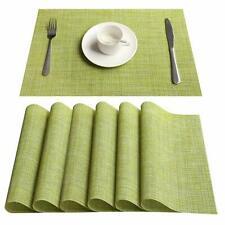 """Placemats Set of 6 Heat-Resistant PVC Table Mats Woven Vinyl Placemats,18""""x12"""""""