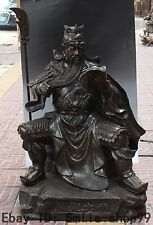 90CM Chinese Bronze Dragon Guan Guan Yu Guangong Warrior God Sword Sculpture
