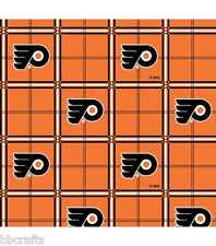 NHL HOCKEY PHILADELPHIA FLYERS 100% COTTON FLANNEL FABRIC MATERIAL BY 1/2 YARD