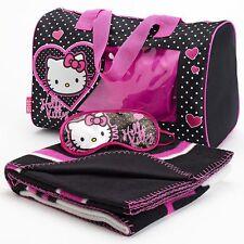 Hello Kitty 3-pc Fleece blanket with purse & eyemask - Sleepover Set NWT Girls