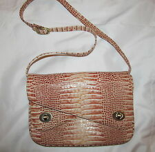 CHARLIE LAPSON paten leather alligator embossed moc croc double closure bag WOW!