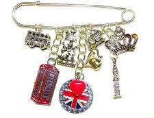 British Kilt Pin Brooch London Queen Silver plated UK Artisan Big Ben Bus Booth