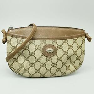GUCCI GG Pattern PVC Canvas Crossbody Shoulder Bag Purse Brown 804 02 020 JUNK