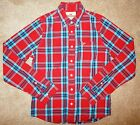 HOLLISTER Men's Button Down Long Sleeve SHIRT Size Medium Red Turquoise Plaid