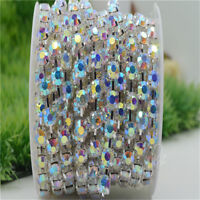 6mm/8mm Crystal Color AB Rhinestones Silver Round Cup Chain Costume Dress sew on