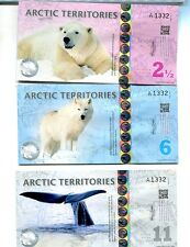 2013 Arctic Territories 3 Note Currency Set Polar Bear Whale Fox 7282G