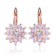 Fashion Silver 18K Rose Gold Plated Clear Crystal Women Dangle Hoop Earrings