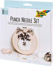 Punch Needle Komplettset inkl. Wolle,Nadel,Einfädler,Anleitung,Stickrahmen,Stoff
