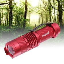 Red CREE Q5 3500Lm LED Flashlight Torch Lamp Adjustable Focus Zoom Light FT