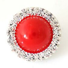 Fits Ginger Snap Ginger SNAPS Rhinestone Red Magnolia Vine Jewelry 18mm Button
