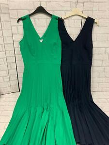 Warehouse Dress Pleated Midi Dress Green and Navy Brand New With Tags