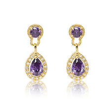 Purple Fashion Women Halo Heart 18ct gold plated dangle drop CZ Stone Earrings