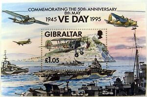 GIBRALTAR VE DAY STAMPS SOUVENIR SHEET 1995 50TH ANV WORLD WAR II AIRPLANE SHIPS