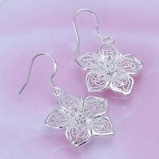 Vintage Style Party Silver Plated Earrings Ear Studs Hollow Flower