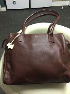Fabulous Large Brown Leather Radley Shoulder Bag With Radley Dog Charm