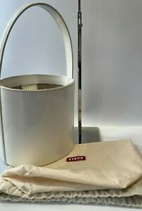 STAUD Bissett White Patent Leather Bucket Bag (Authentic) Size: Mini/Small