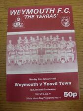 02/01/1989 Weymouth v Yeovil Town  (folded). Unless previously listed in bracket