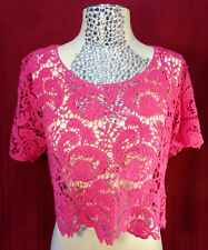 Womens Hot Pink Short Sleeve Crocheted Crop Top Say What? Size Large 100% Cotton
