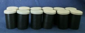 35mm Empty Film Canisters Black with Gray Lids (Lot of 12)