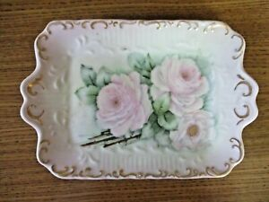Vintage Shabby and Chic Hand-Painted Porcelain Ceramic Vanity Tray Pink Roses
