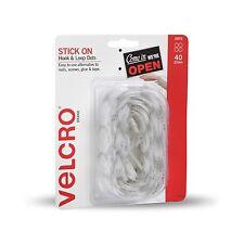 VELCRO® Brand STICK ON HOOK & LOOP DOTS 22mm 40Pcs Adhesive Backed WHITE Nylon