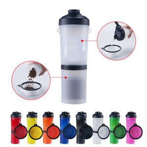 Dog Water Bottle and Food Container 2 In 1 Portable Stacked Travel Feeder