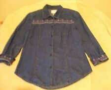 Karin Stevens Size 10 Button Front Denim Shirt w/Floral Embroidery, 3/4 sleeves