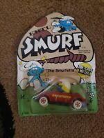 """1982 Ertel Smurf """"The Smurfetta"""" Die Cast Metal car on Card"""