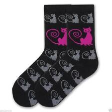 New K Bell  Cat Kitten Lover Black & Pink Curly Q Cat Socks Sz 9 - 11 Crew MIP